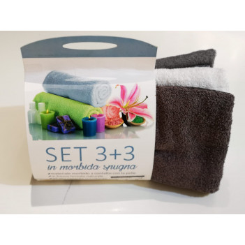 Asciugamani set 3+3 spugna